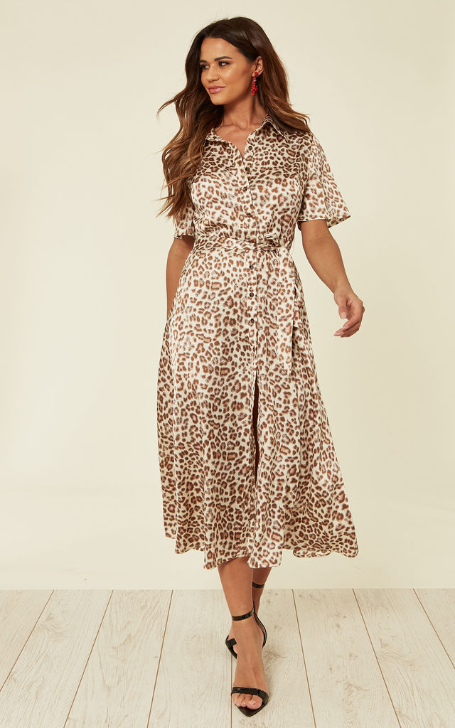 be6f013438da Satin Cream and Coral Leopard Print Midi Shirt Dress with Belt by D.Anna