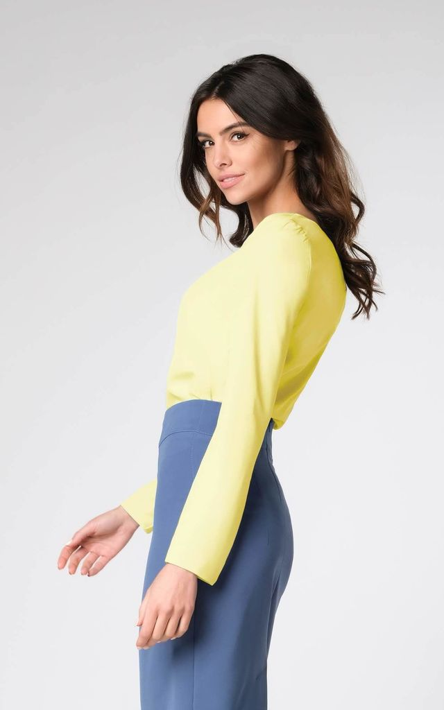 Long Sleeve Top with V-Neckline in Yellow by Bergamo