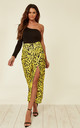 Yellow Satin Animal Print Maxi Wrap Skirt with Belt Fastening by D.Anna