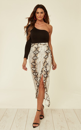 Snake Skin Printed Midi Wrap Skirt With Belt Fastening by D.Anna Product photo