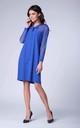 Midi Dress with Mesh and Tied at Neck in Blue by Bergamo