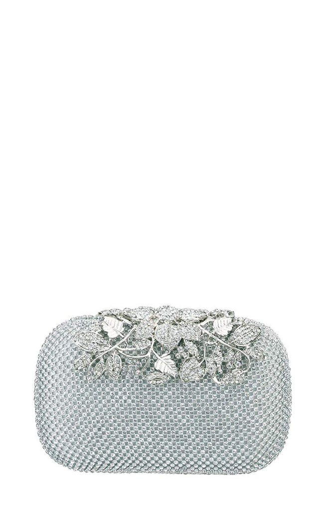 Clutch Bag with jewelled detail floral metalwork in Silver by Hello Handbag