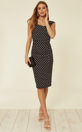Jill Bodycon Dress in Black & White Polka Dots by Collectif Clothing
