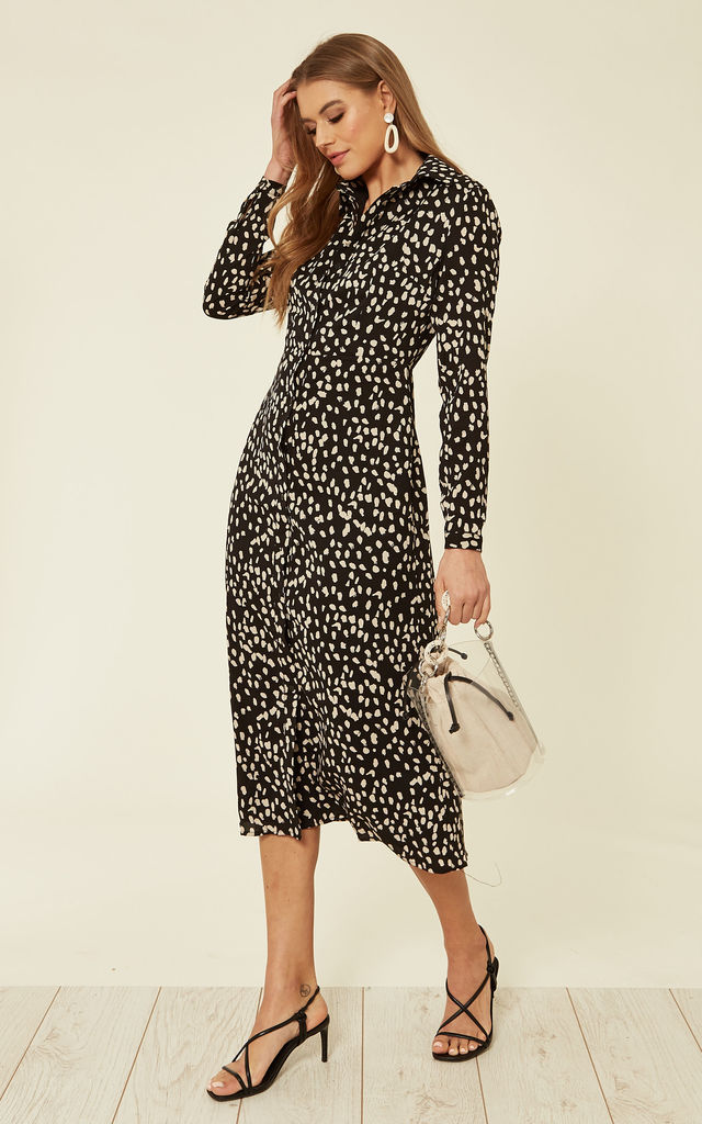 Krista Long Midaxi Shirt Dress in Black Painterly Spot Print by SUGARHILL BRIGHTON