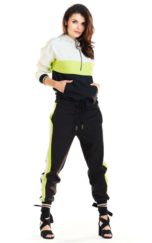 Long Sleeve Hooded Jumper with Zipper in Lime Colour by AWAMA