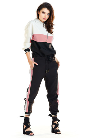 Long Sleeve Hooded Jumper with Zipper in Pink Colour by AWAMA