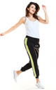 Sporty Loose Pants with Stripes in Lime Colour by AWAMA