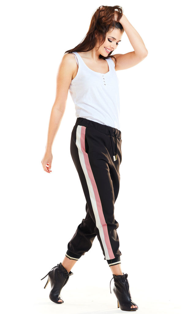 Sporty Loose Pants with Stripes in Pink Colour by AWAMA