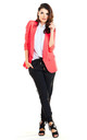 Loose Trendy Long Sleeved Jacket in Fuchsia by AWAMA