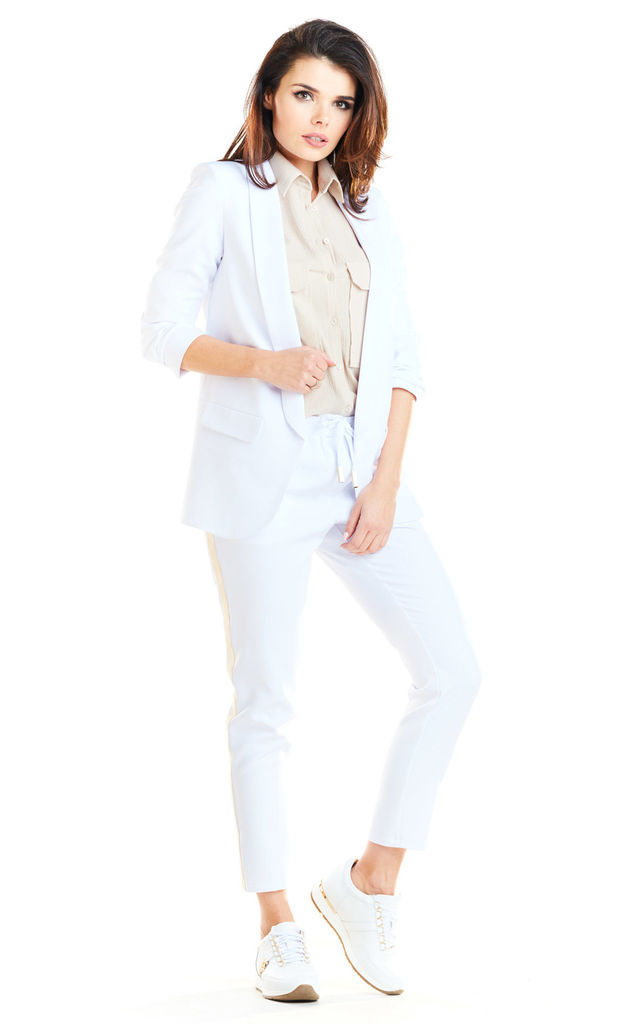Loose Trendy Long Sleeved Jacket in White by AWAMA