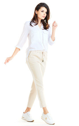 Casual Trousers with Pockets in Beige by AWAMA