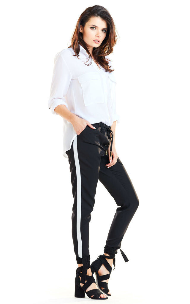 Casual Trousers with Pockets in Black by AWAMA