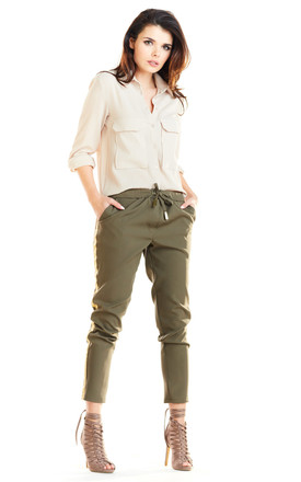 Casual Trousers with Pockets in Khaki by AWAMA