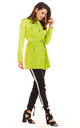 Bound Trench Jacket with Gold Buttons in Lime by AWAMA