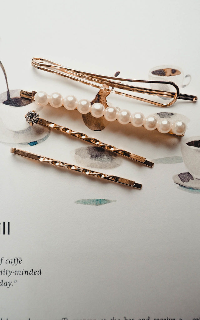 Selena Gold-tone Pearl Hair Slides Pack of 4 by Ajouter Store