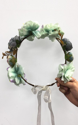 Summer Floral Headband in Green and Purple by CY Boutique