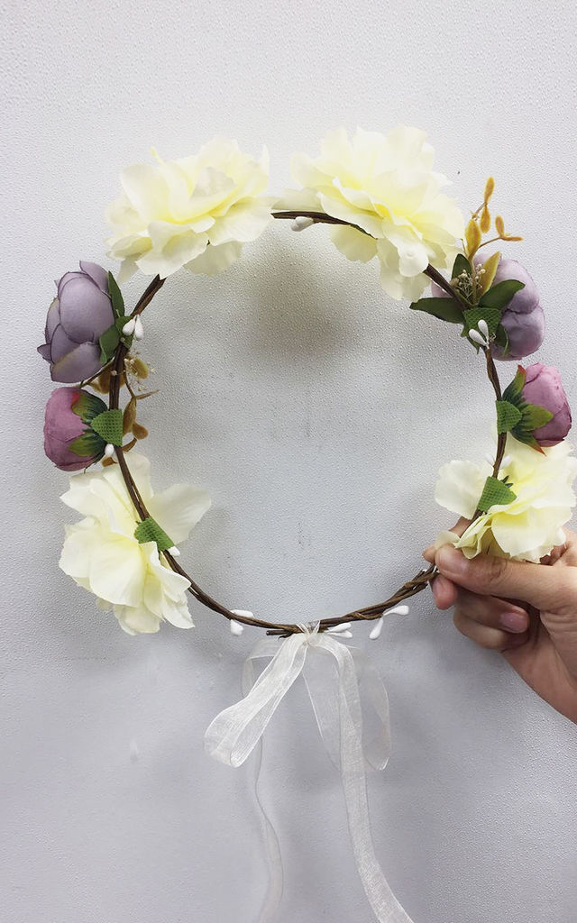 Summer Floral Headband in White and Purple by CY Boutique