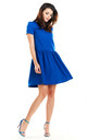 Flared Mini Dress with Short Sleeve in Blue by AWAMA
