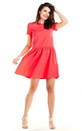 Flared Mini Dress with Short Sleeve in Fuchsia by AWAMA