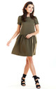 Flared Mini Dress with Short Sleeve in Khaki by AWAMA