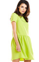 Flared Mini Dress with Short Sleeve in Lime by AWAMA