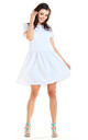 Flared Mini Dress with Short Sleeve in White by AWAMA
