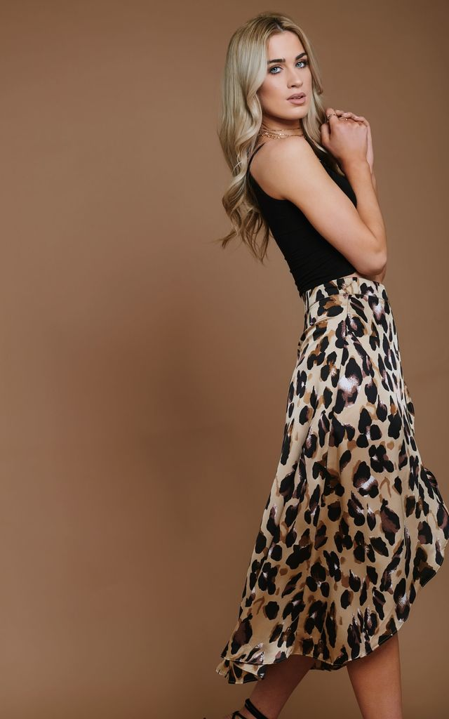 Satin Wrap Leopard Print Skirt by HAUS OF DECK