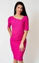 The London bodycon pencil dress with asymmetrical neckline in cerise by Off the Catwalk