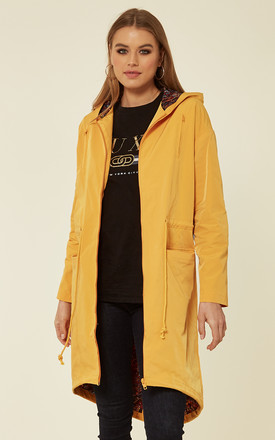 Mara Hooded Coat With Paisley Lining In Yellow by Bright & Beautiful Product photo