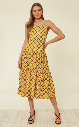 Judy Tiered Backless Midi Dress In Yellow by Bright & Beautiful Product photo