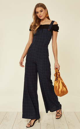 Mila Palazzo Dungarees Jumpsuit In Navy by Bright & Beautiful Product photo
