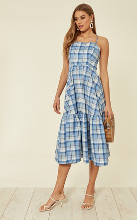 Judy Tiered Backless Midi Dress In Baby Blue Check by Bright & Beautiful Product photo