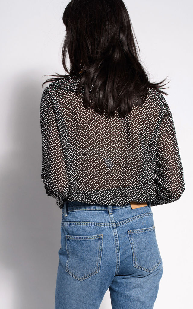 Chiffon Bodysuit with Long Sleeves in Black Polka Dots by dressesie