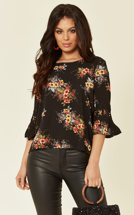 Black Floral Crochet Detail Top by AX Paris Product photo