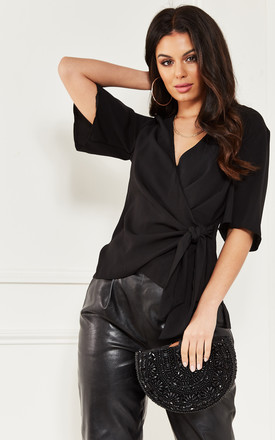 Black Short Sleeve Wrap Top With Side Tie by Lilah Rose