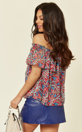 Forget Me Not Off The Shoulder Floral Halterneck Blouse in Red by Once Upon a Time