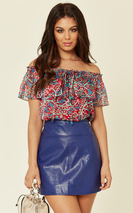 Forget Me Not Off The Shoulder Floral Halterneck Blouse In Red by Once Upon a Time Product photo