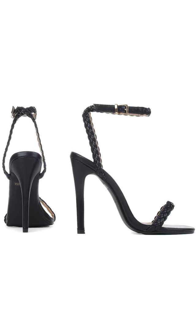Black Strappy Barely There High Heel Stilettos with Metallic Ankle Strap Rope in Black by Shoe Closet