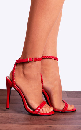 Red Strappy Barely There High Heel Stilettos with Ankle Strap Rope in Red by Shoe Closet