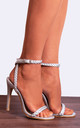 Silver Strappy Barely There High Heel Stilettos with Metallic Ankle Strap Rope in Silver by Shoe Closet