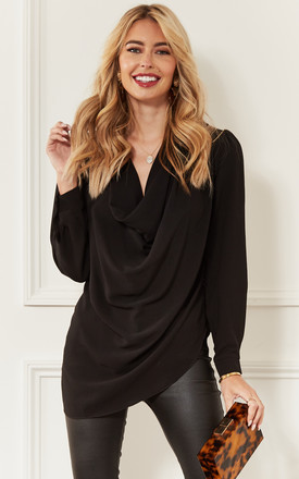 Black Cowl Neck Long Sleeve Blouse by John Zack Product photo