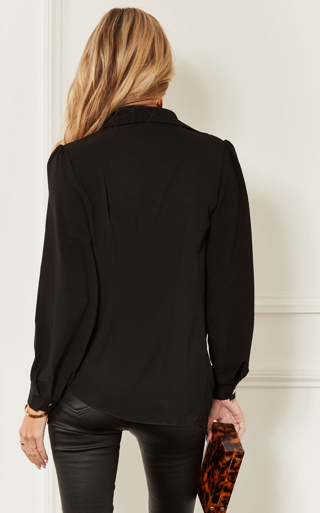 Black Cowl Neck Long Sleeve Blouse by John Zack