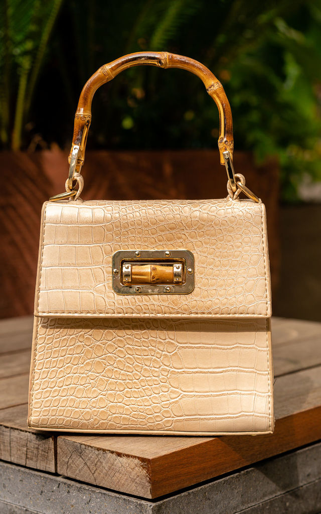Bali Bamboo Handbag in Cream by Polkaa Dot