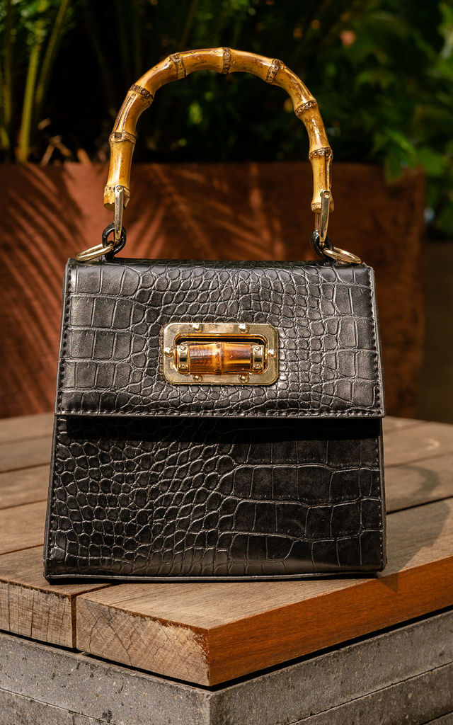 Bali Bamboo Handbag in Black by Polkaa Dot