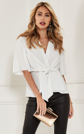 White Kimono Knot Top by Bella and Blue