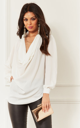 Ivory Cowl Neck Long Sleeve Blouse by John Zack Product photo