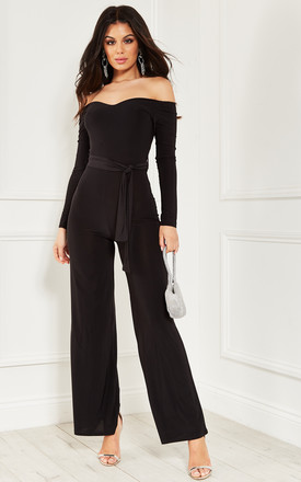 Black Off The Shoulder Jumpsuit With Tie Waist by Bella and Blue Product photo