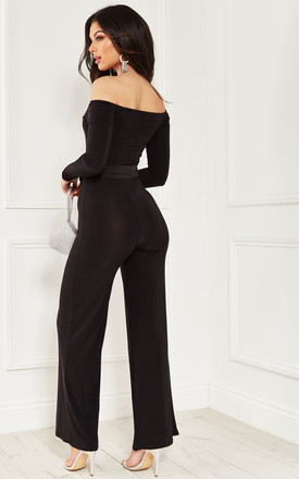 Black off the shoulder Jumpsuit with tie waist by Bella and Blue