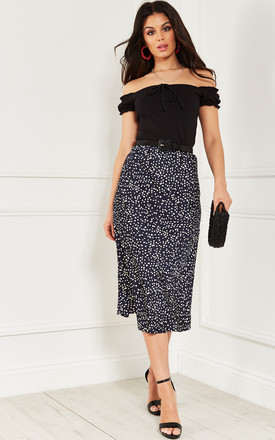 Navy With White Dots Midi Skirt by Bella and Blue Product photo
