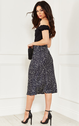 Navy with White Dots Midi Skirt by Bella and Blue